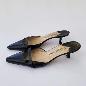 Manolo Blahnik Slip On Heels Mules Sz 40.5/ 10.5